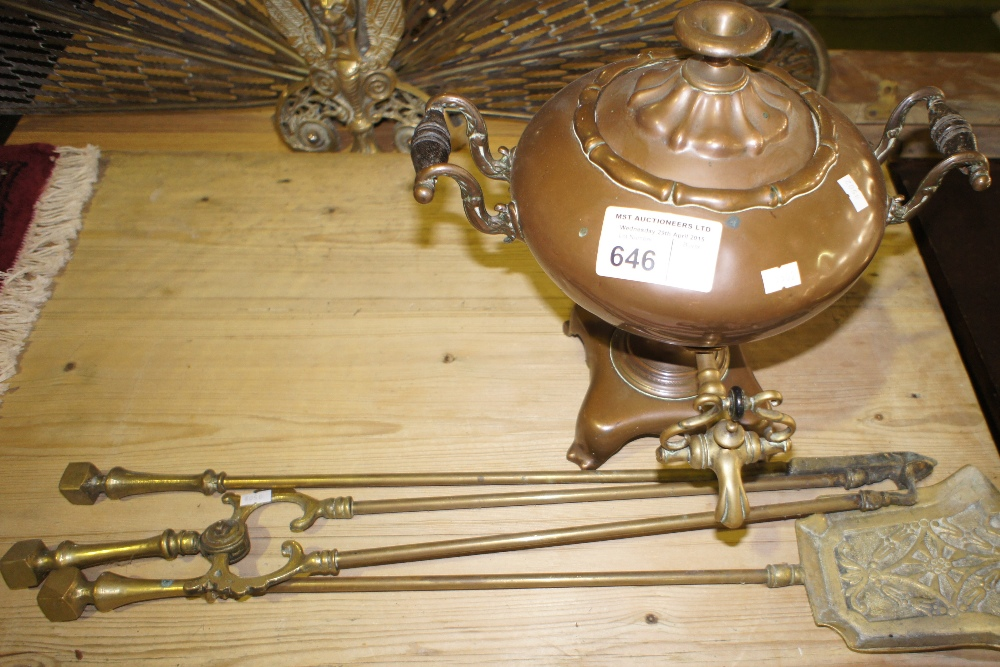 Lot 646 - NV- an old copper samovar and a three piece Brass fire iron set