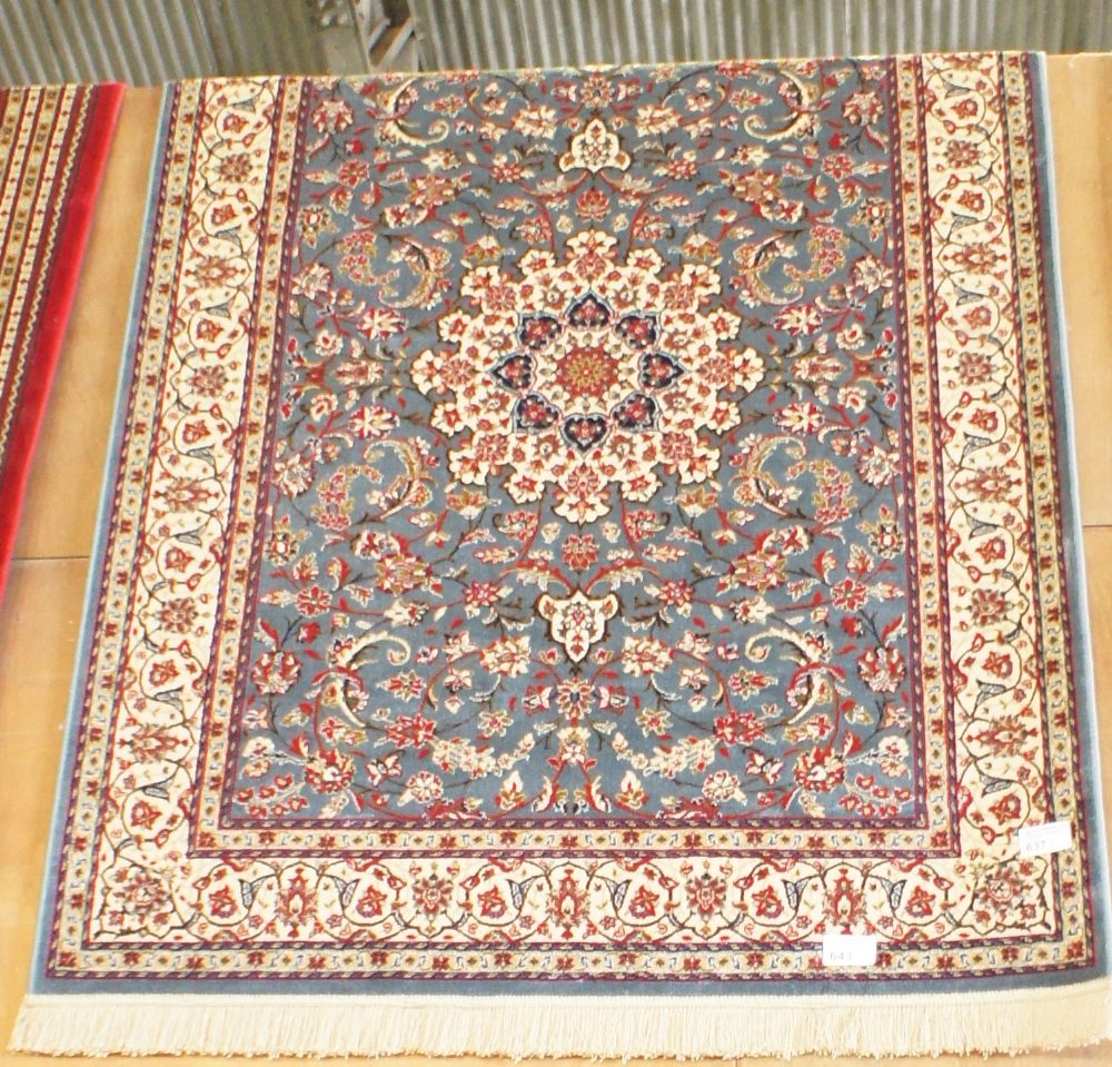 Lot 637 - NV- a pale blue ground Kashmir rug, Sharbass design. Approx. 190 X 140cm