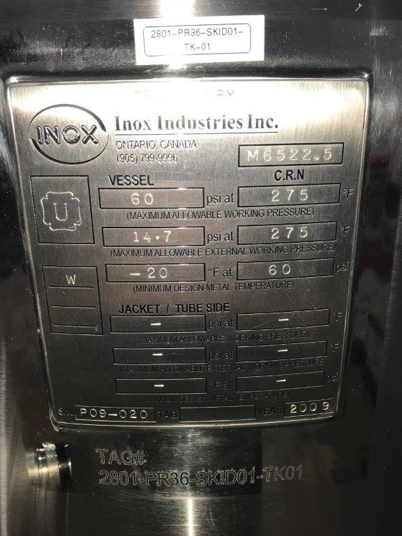UNUSED 150 L INOX PRESSURE VESSEL/PARTIAL WATER FILTRATION SYSTEM.- LOCATION - AURORA, ONTARIO - Image 2 of 3