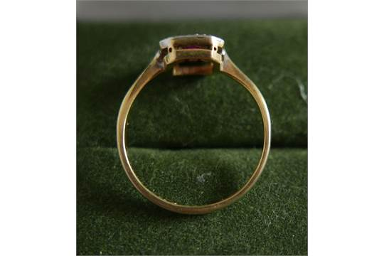 18 Karat Gold Ruby Diamond Ring
