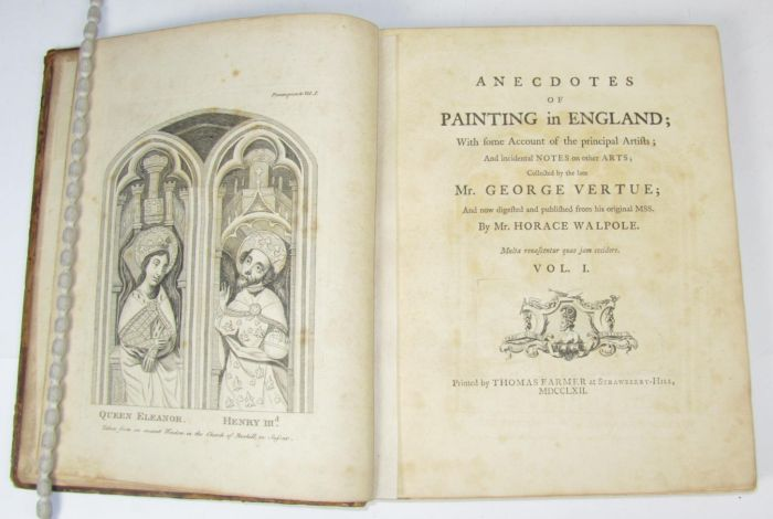 Lot 17 - Walpole, Horace Anecdotes of painting in England. Strawberry-Hill: 1762-63. Volumes 1-3, 4to, 78