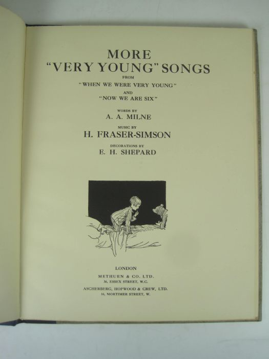 """Lot 42 - Milne, A.A. - H. Fraser-Simson, composer - E.H. Shepard, illustrator More """"very young"""" songs."""