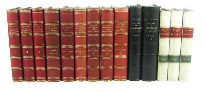 Lot 57 - Rémusat, Paul de Mémoires. Paris, 1880. 3 volumes, 11th edition, later red half morocco gilt; Taine,