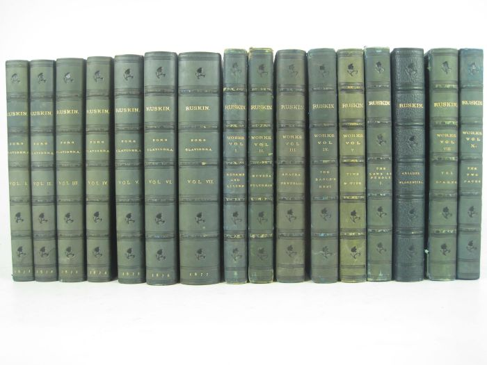 Lot 15 - Ruskin, John, 16 blue calf volumes, including: Fors Clavigera. Orpington: G. Allen, 1871-77. 7