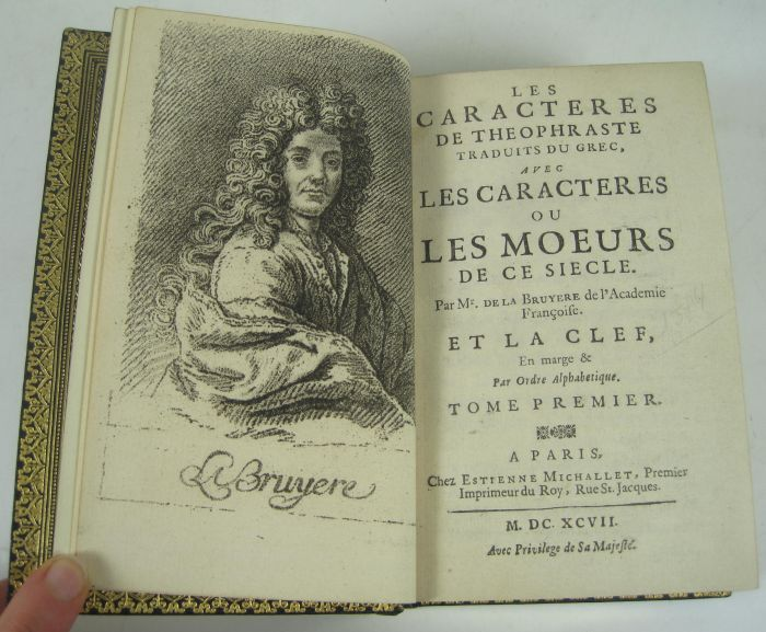 Lot 51 - La Bruyère, Jean de Les caractères de Theophraste. Paris: E. Michallet, 1690. Fifth edition, 12mo,
