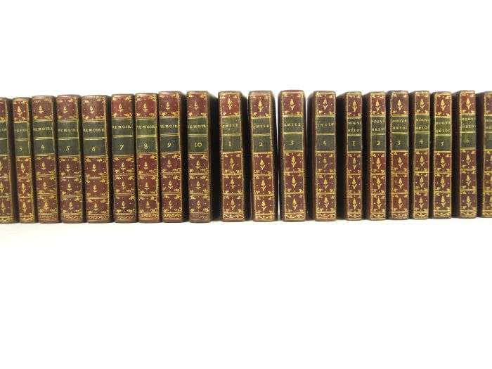 """Lot 56 - Rousseau, Jean-Jacques, 22 volumes, comprising Memoires. """"Londres"""", 1782-90. 10 vol.; Emile. """""""