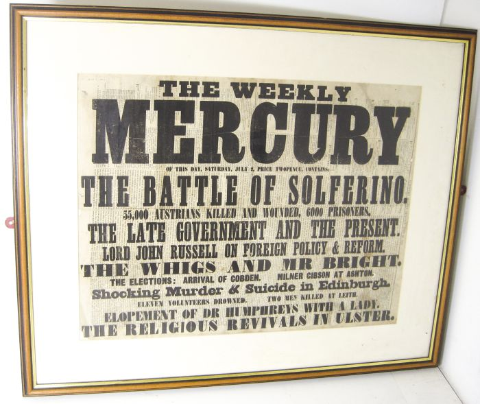 Lot 32 - Red Cross interest - Battle of Solferino - Caledonian Mercury Advertisement for the Caledonian