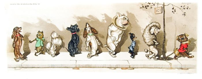 Lot 30 - O'Klein, Boris - 'Dirty Dogs' series Five humorous caricatures of dogs, signed, each 500x210mm,