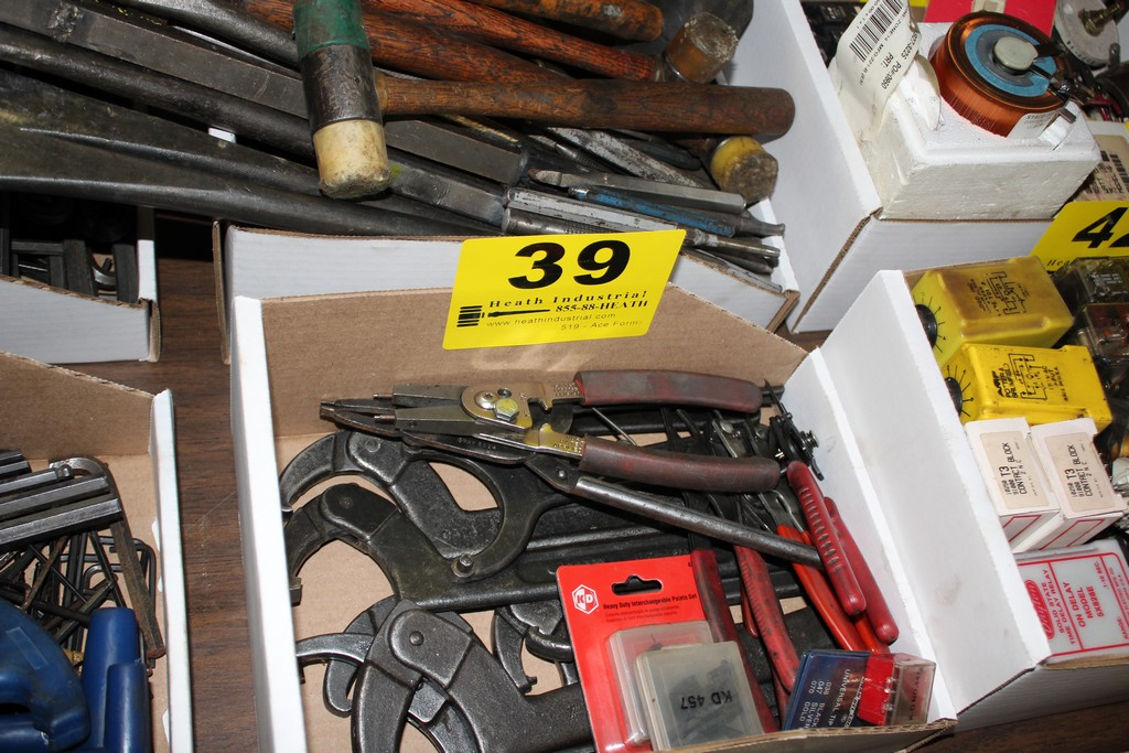 Lot 39 - ASSORTED SNAP RING PLIERS, MACHINE WRENCES