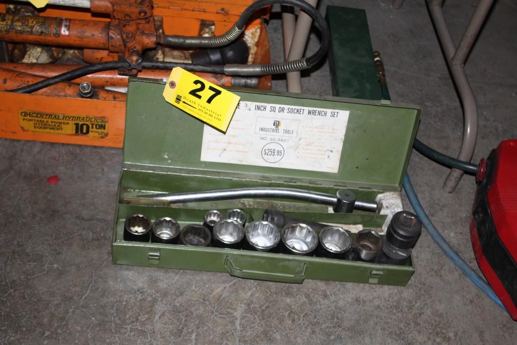 """Lot 27 - 3/4"""" DRIVE SOCKET SET WITH BREAKER BAR, IN STEEL CASE"""