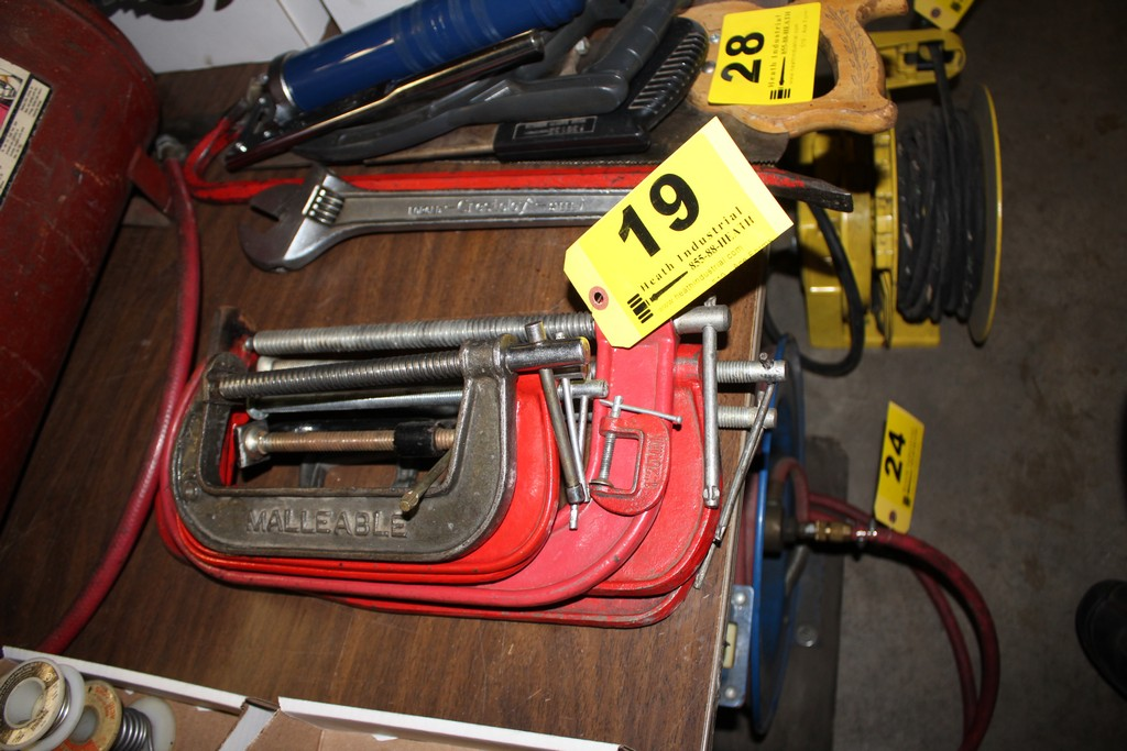 Lot 19 - (8) ASSORTED C-CLAMPS