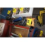 ASSORTED SAWS, GREASE GUN, CRESCENT WRENCH & PRY BAR