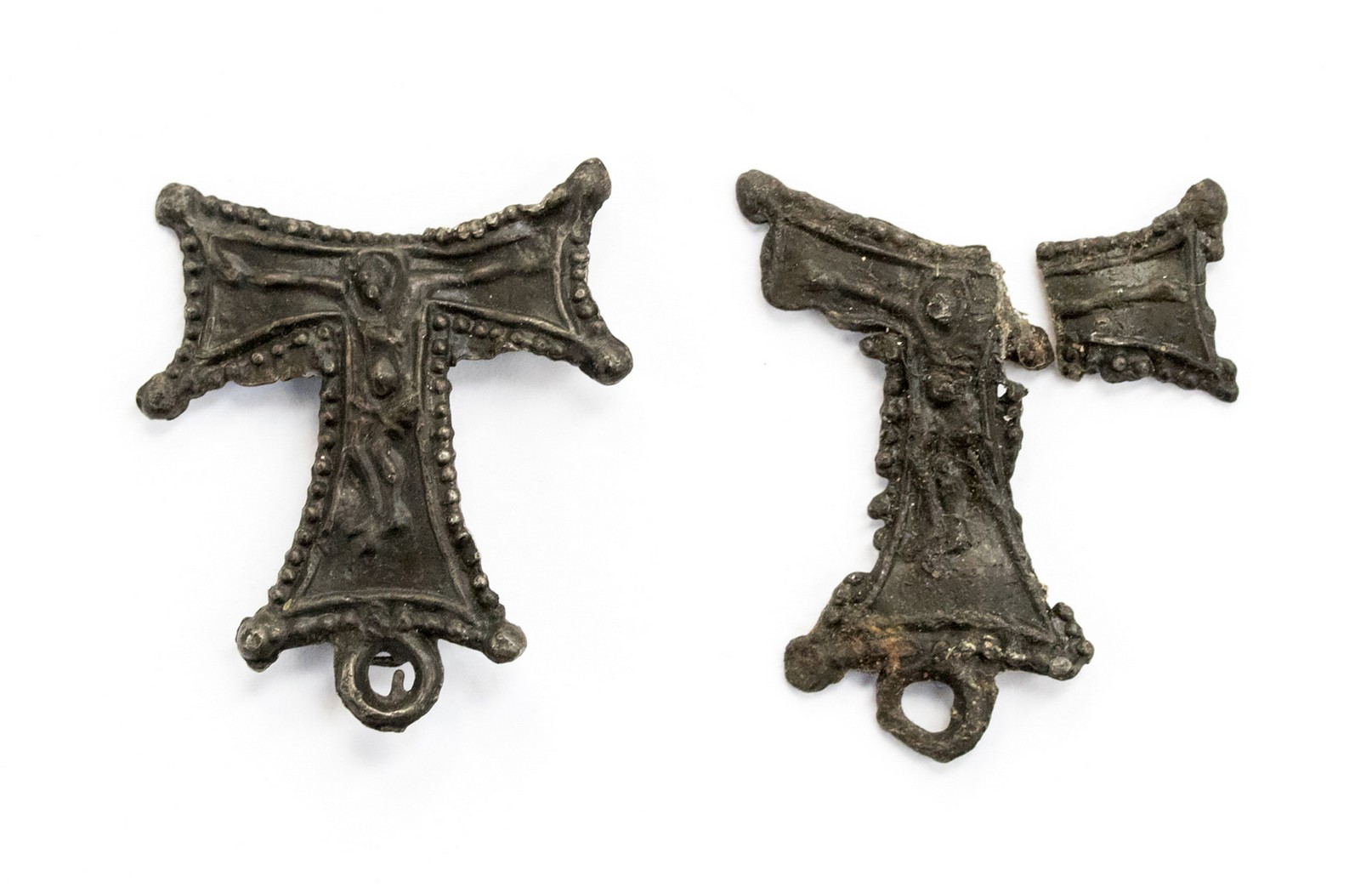 Medieval Tau cross pilgrims badge, St Anthony's Hospital, London.