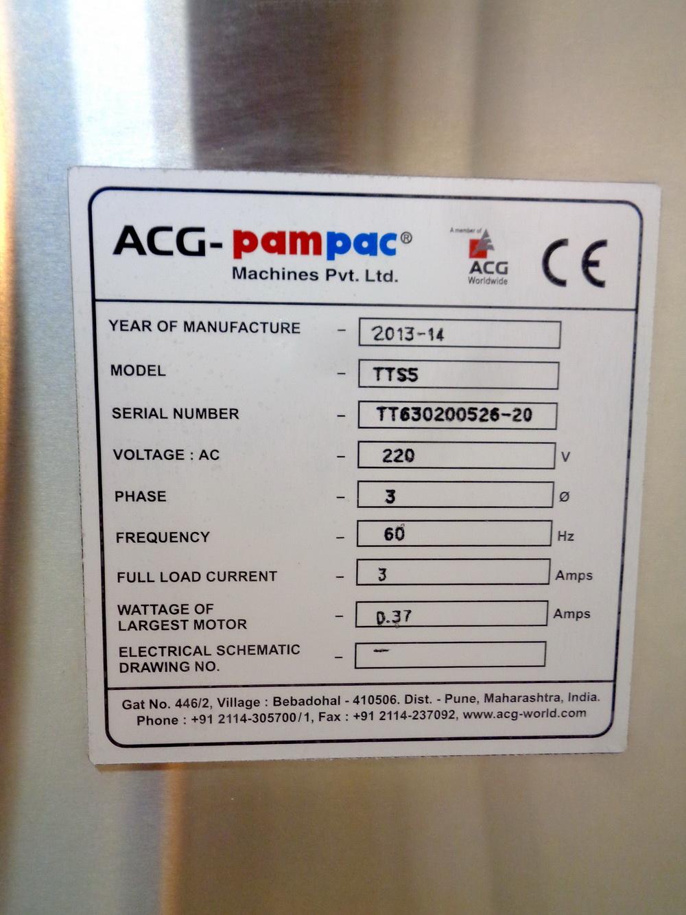 Lot 37 - Unused ACG PAM 5 Lane Tablet/Capsule Thickness Sorter, Model TTS-5, S/N TT630 2005 26-20