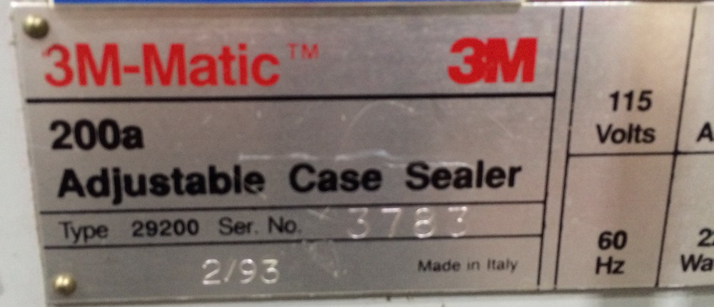 Lot 82 - 3M Case Sealer, Model 200A, Type 29200, S/N 3783