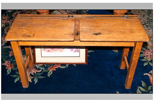 Outstanding Vintage Light Oak Twin School Desk With A Double Lift Up Top Interior Design Ideas Ghosoteloinfo