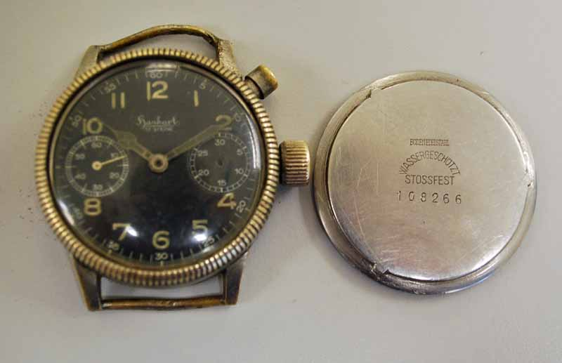 Lot 23 - A Gentleman's German WWII Pilot's military Hanhart Chronograph Wrist Watch, nickel cased, black dial