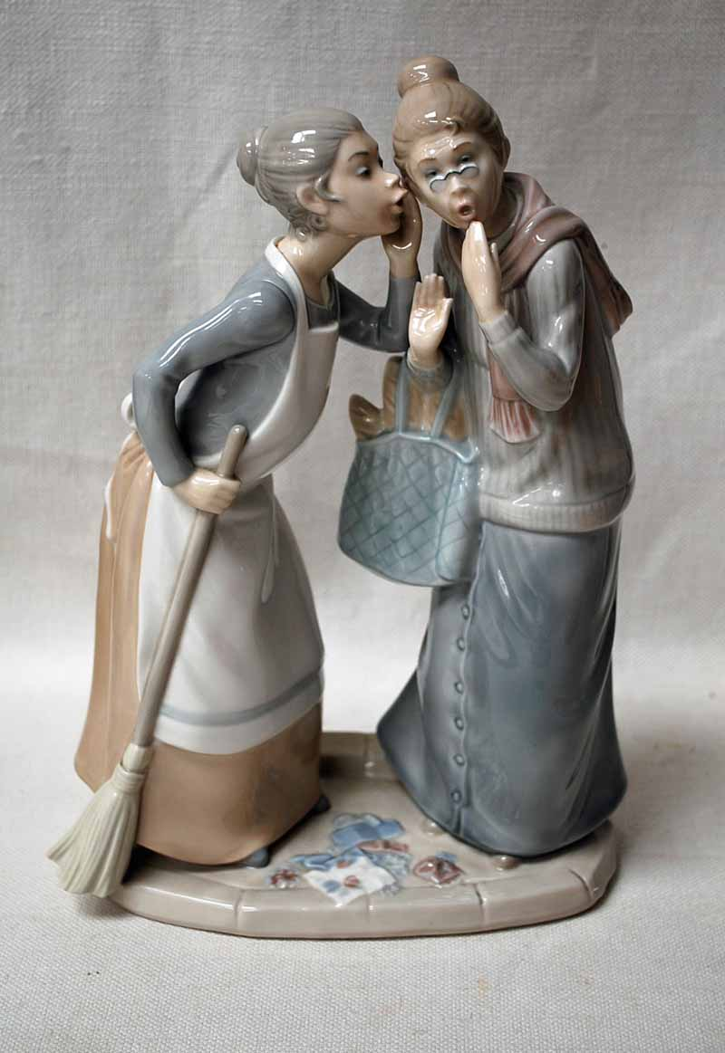 Lot 3 - A large Lladro Figural Group as two women gossiping, 30cm high