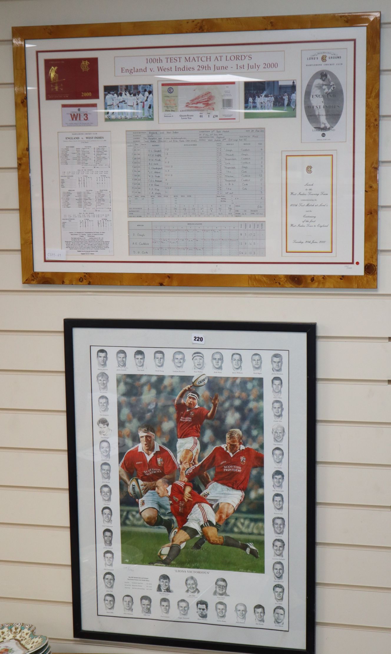 Lot 126 - 100th Test Match memorabilia items England -V- West Indies year 2000, framed and a 'Lions