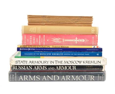 A collection of weapon and armour reference books, including: Richard F. Burton, 'The Book of the Sword', 1972; Bruno Thomas,
