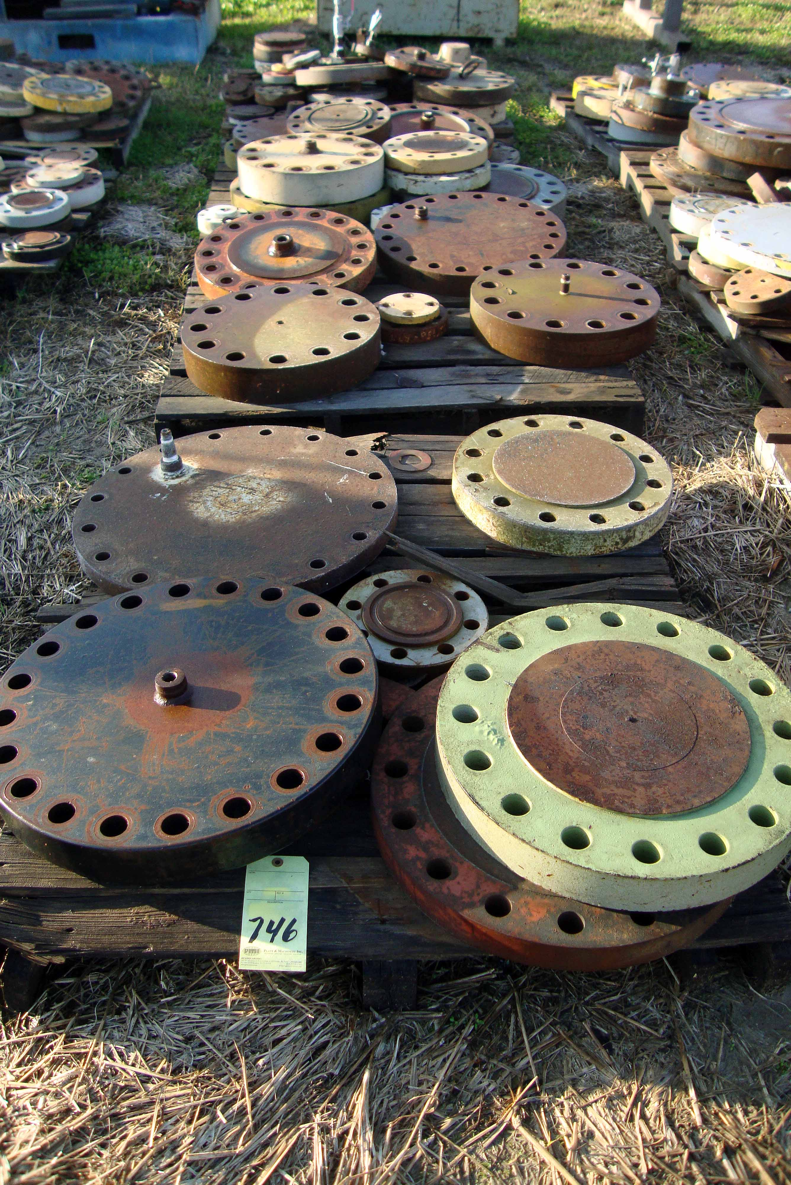 LOT OF HYDROTEST BLIND FLANGES, assorted bolt patterns & fittings