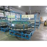 Weaving machine for polypropylene bags w/t spool stands, etc.