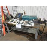 Including table, vise, grinder and assorted tools