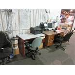 Including desk, screen, printer, punch clock, chairs, etc.