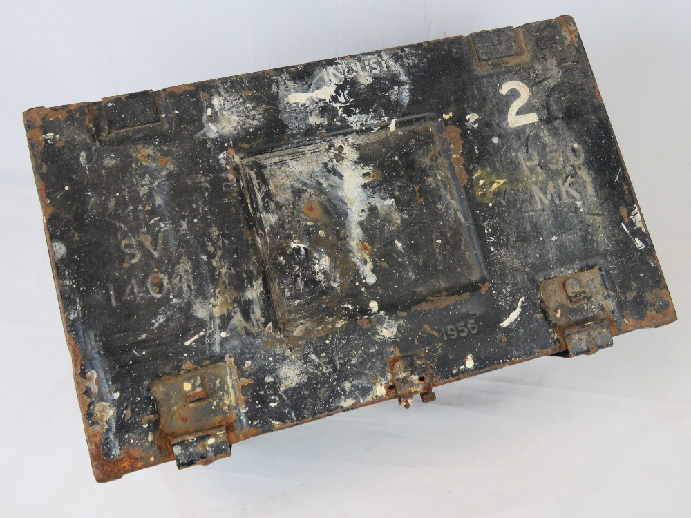 Lot 87 - A metal ammo box dated 1956 and measurin