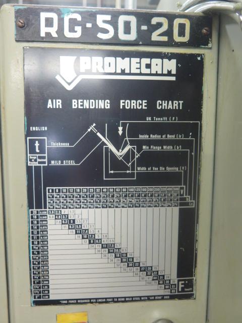 "Promecam RG-50-20 50 Ton x 79"" CNC Press Brake s/n 14501 w/ PM Graph Controls and Back Gaging, 79"" - Image 9 of 9"