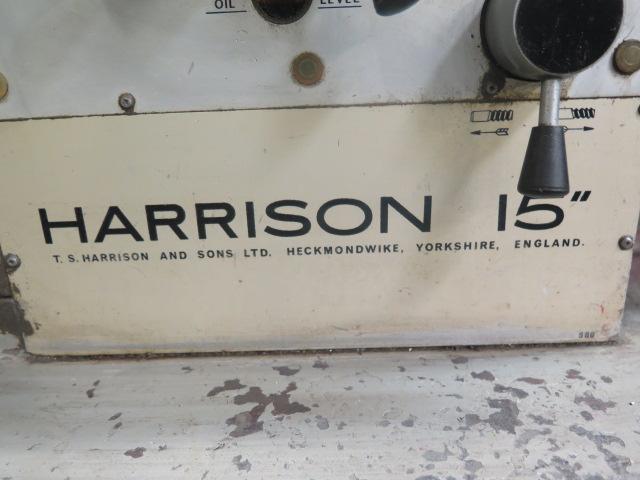 "Lot 27 - Harrison 15"" 15"" x 55"" Geared Head Gap Bed Lathe s/n 145477 w/ 35-1500 RPM, Inch Threading, Trava-"
