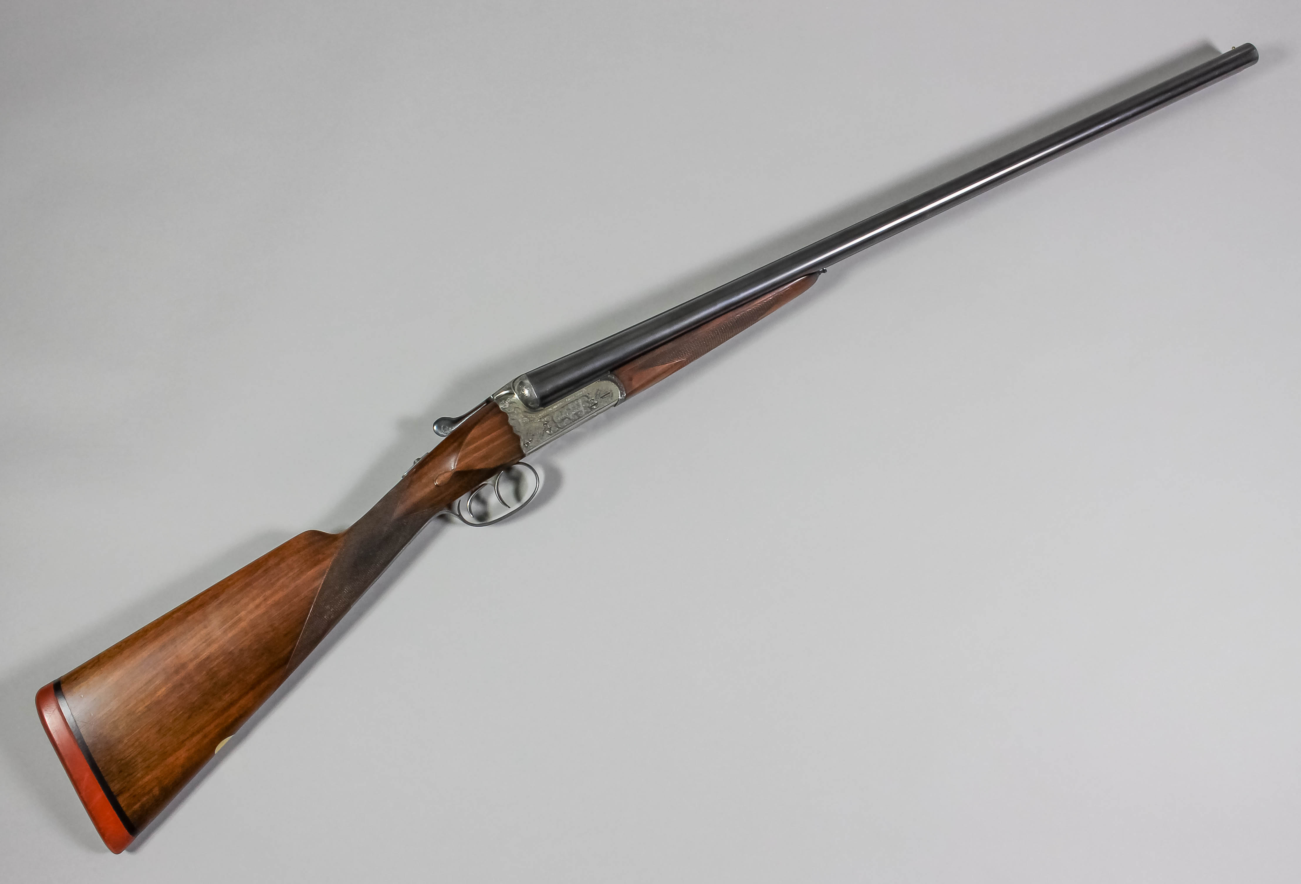 An Aya No  4 deluxe 12 bore box lock side by side shotgun