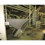 """Odenberg 25 ft. L S/S Inclined Belt Conveyor / Hopper System with 23"""" W Belt, 19"""" Flights, Side"""