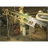 """13 ft. L S/S Inclined Conveyor System, set up for 16"""" W Belt, (Note: Belt Missing), Siderails, Drain"""