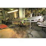 """~28 ft. L S/S Inclined Inspection Conveyor System, with 34"""" W Belt with 12"""" Flights, S/S"""