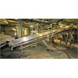 """~22 ft. L S/S Inclined Conveyor System, with 34"""" W Belt with 12"""" Flights, S/S Siderails, Bottom"""