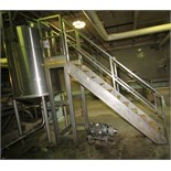 """~7 ft. H S/S Tank Platform Stairs with ~30"""" W x 24"""" L Platform & Handrail, (Used with Lot 60 Tank)"""