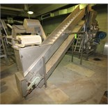 """~13 ft. L S/S Inclined Belt Conveyor System with 18"""" W Belt with 6"""" Flights, Siderails, Drain Pan,"""
