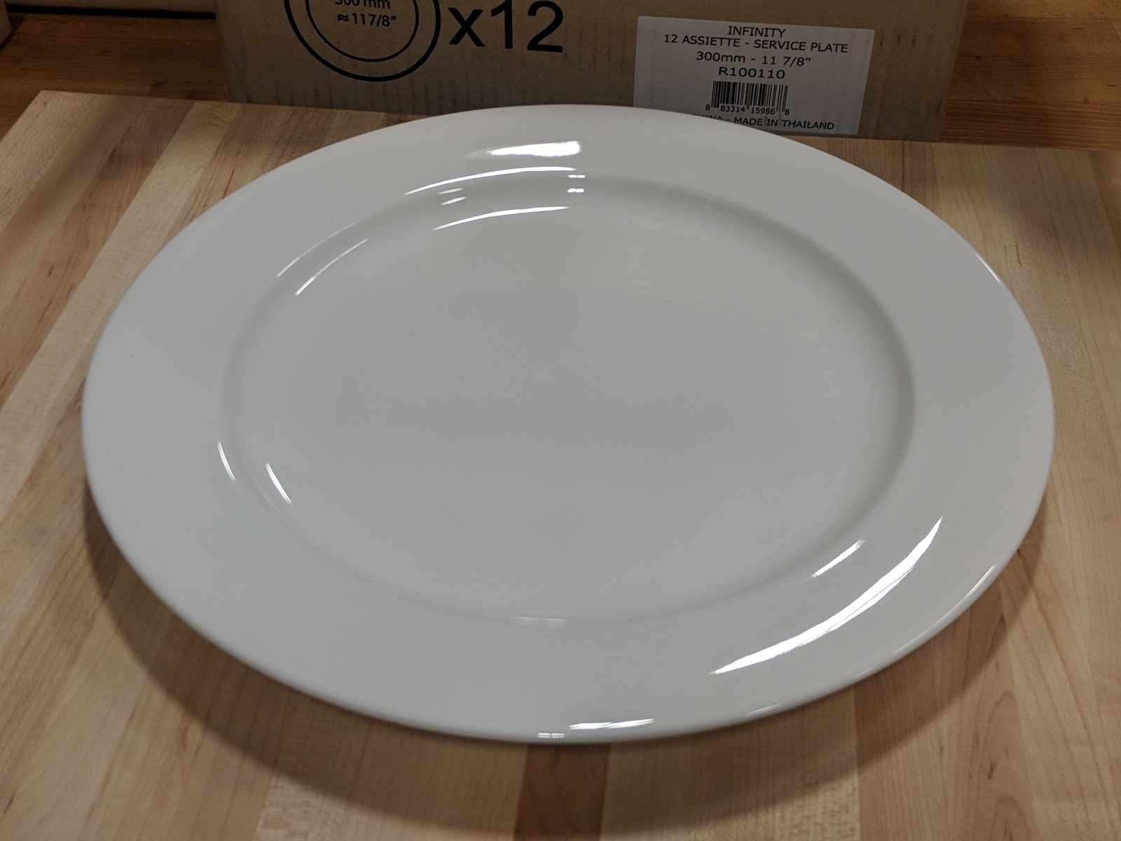 """Lot 35 - 11-7/8"""" Infinity Service Plates - Lot of 12 (1 Case), Arcoroc R1001"""