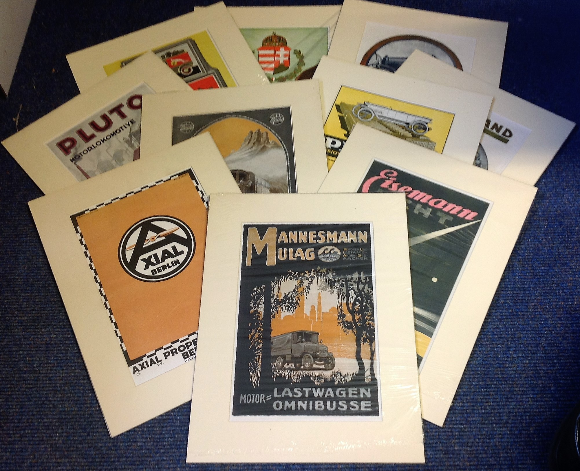 Lot 3 - German advertising collection ten 16x12 mounted advert poster mounted to a professional standard.
