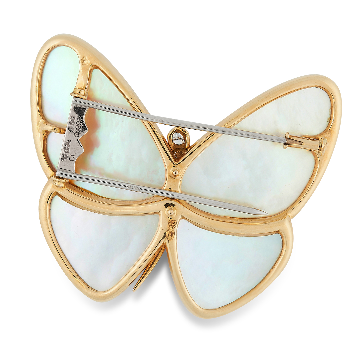 A MOTHER OF PEARL AND DIAMOND BUTTERFLY BROOCH, VAN CLEEF & ARPELS in 18ct yellow gold, designed - Image 2 of 2