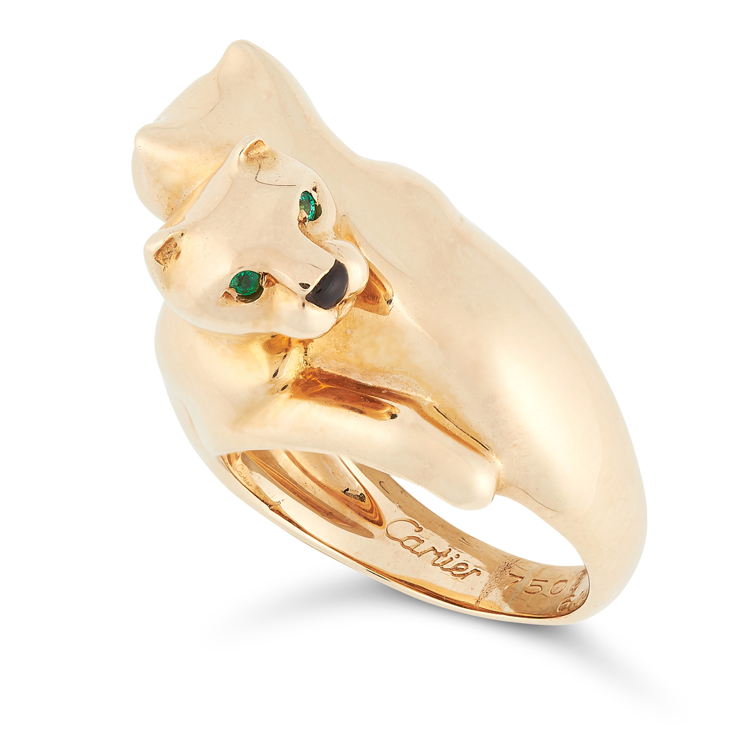 AN EMERALD AND ONYX PANTHERE RING, CARTIER in 18ct yellow gold, designed as two interlocking