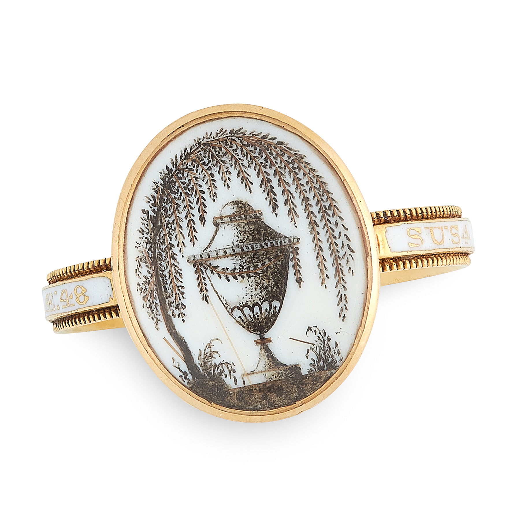 AN ANTIQUE ENAMEL HAIRWORK MINIATURE MOURNING RING, CIRCA 1780 in high carat yellow gold, the oval