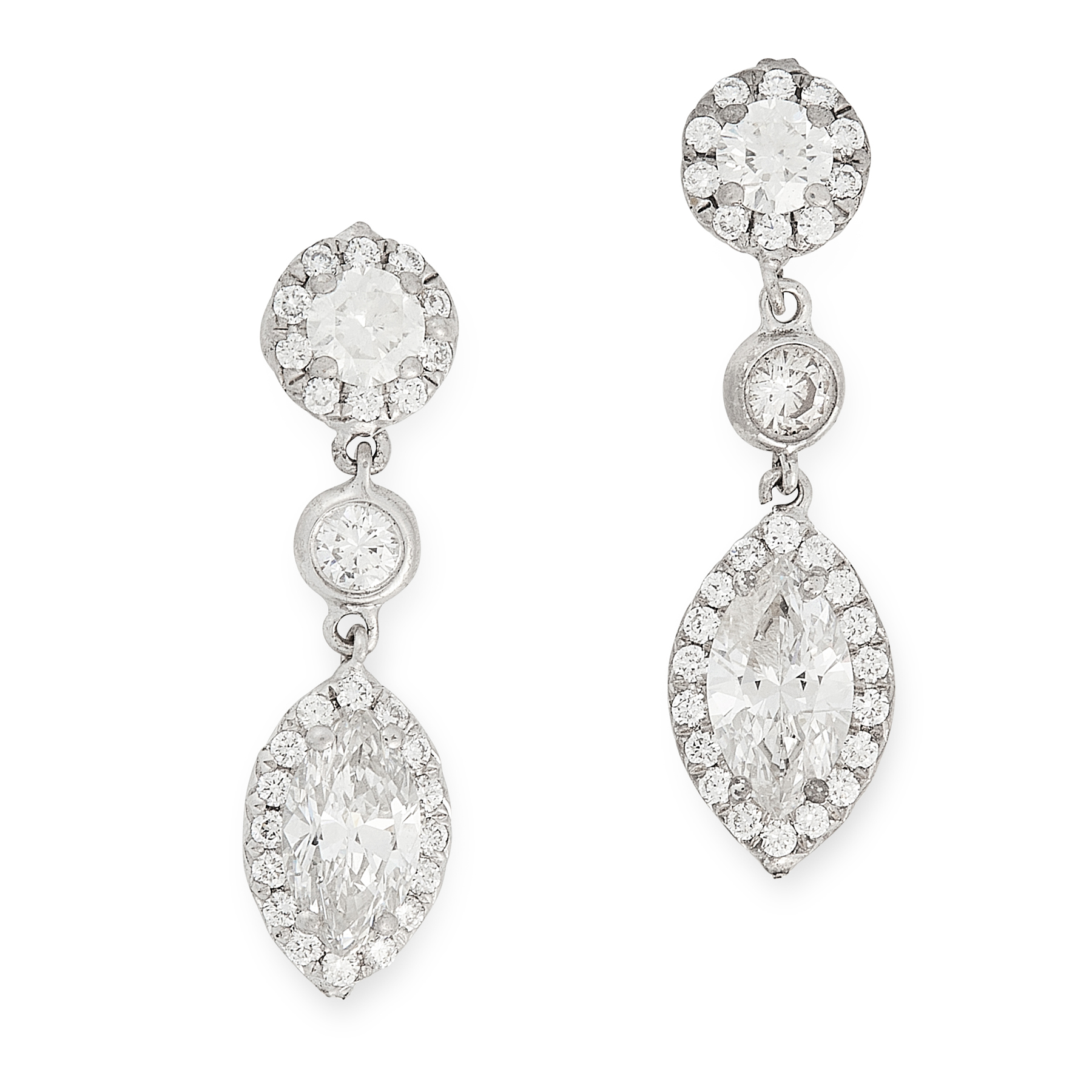 A PAIR OF DIAMOND DROP EARRINGS in 18ct white gold, each set with a marquise cut diamond of 0.55 and