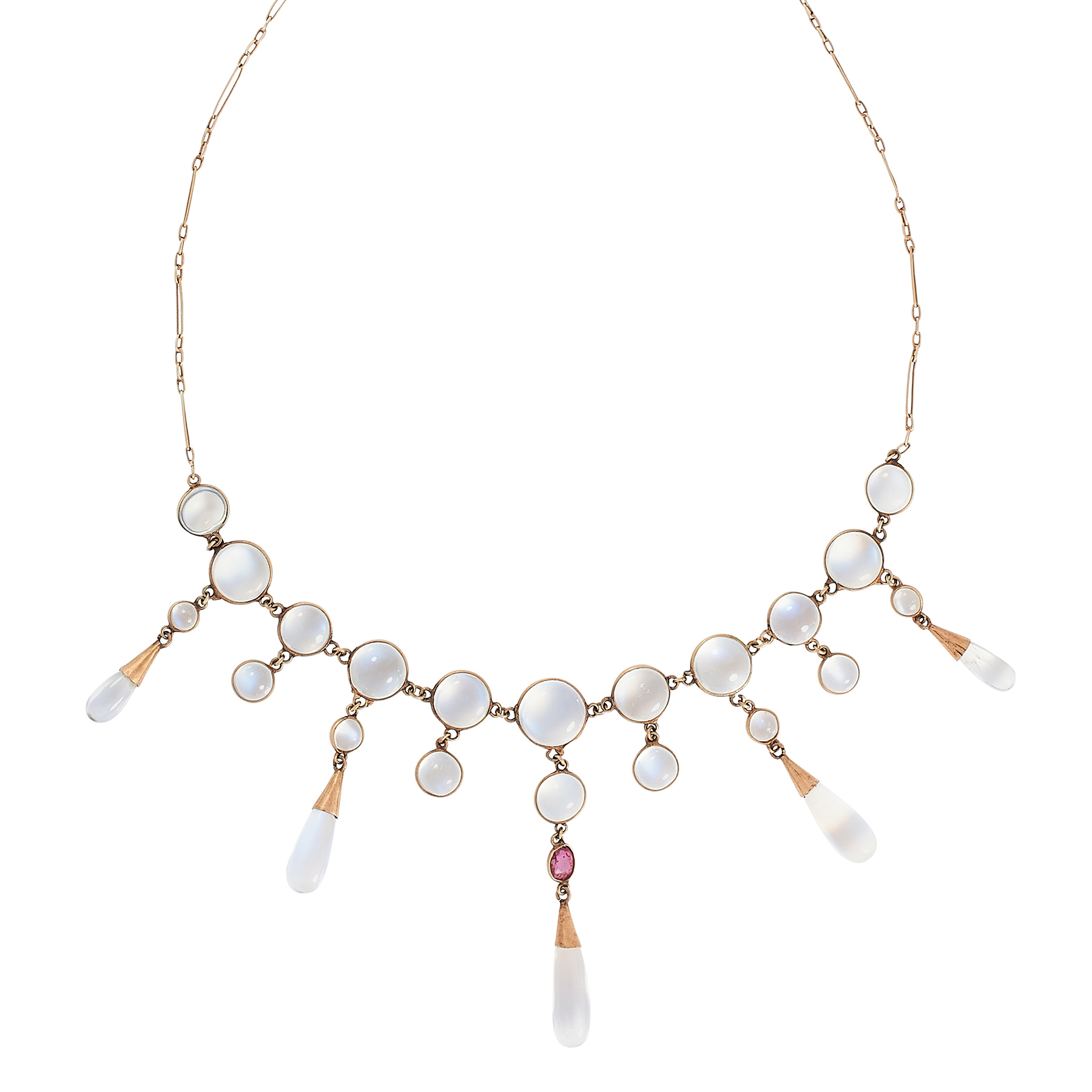 AN ANTIQUE MOONSTONE AND RUBY NECKLACE in yellow gold, comprising a row of round cabochon