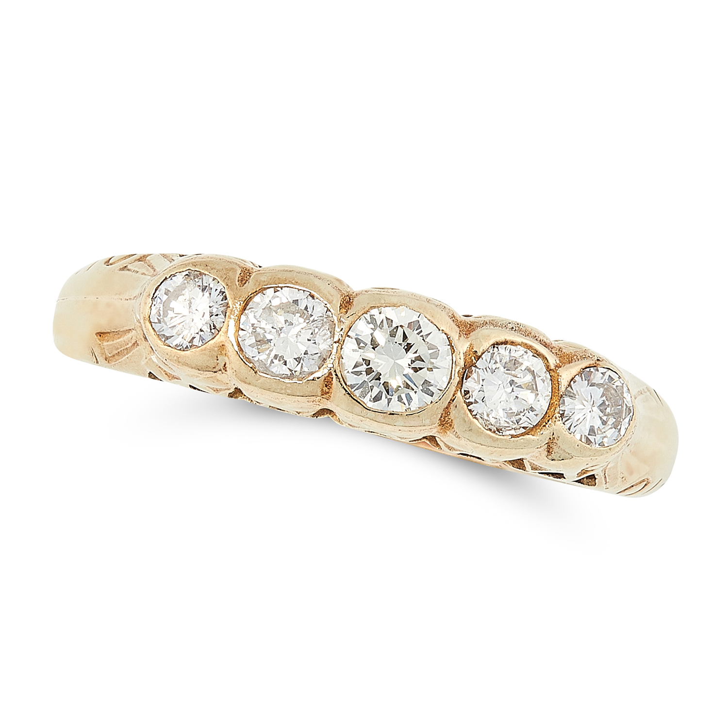 A DIAMOND FIVE STONE RING set with five round cut diamonds totalling 0.30 carats, tests as yellow