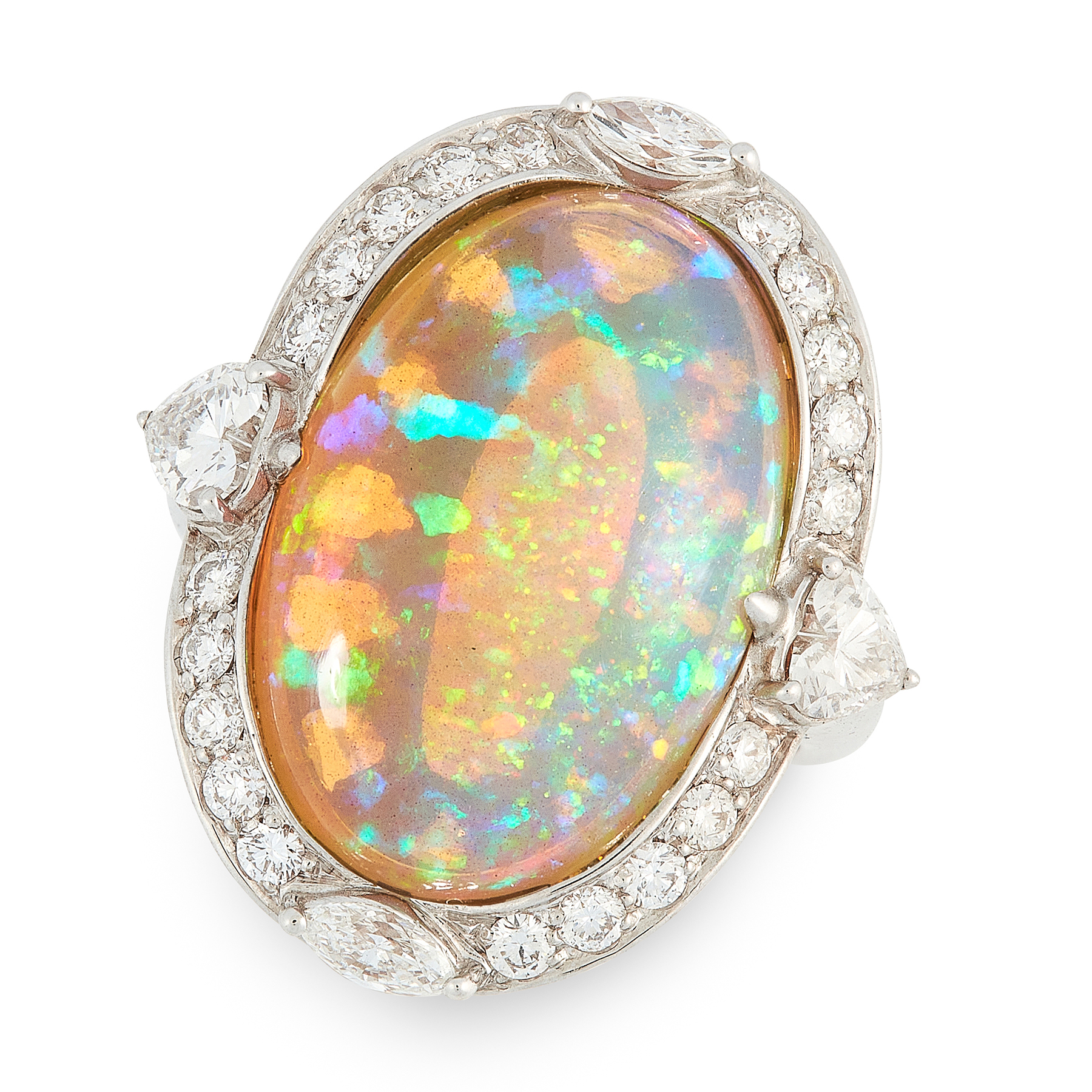 AN OPAL AND DIAMOND RING in 18ct white gold, set with an oval cabochon opal of 13.50 carats,
