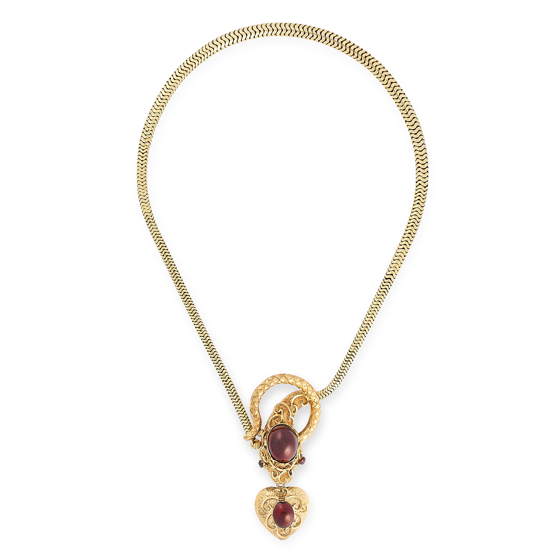 AN ANTIQUE GARNET MOURNING LOCKET SNAKE NECKLACE, 19TH CENTURY in yellow gold, the tapering chain
