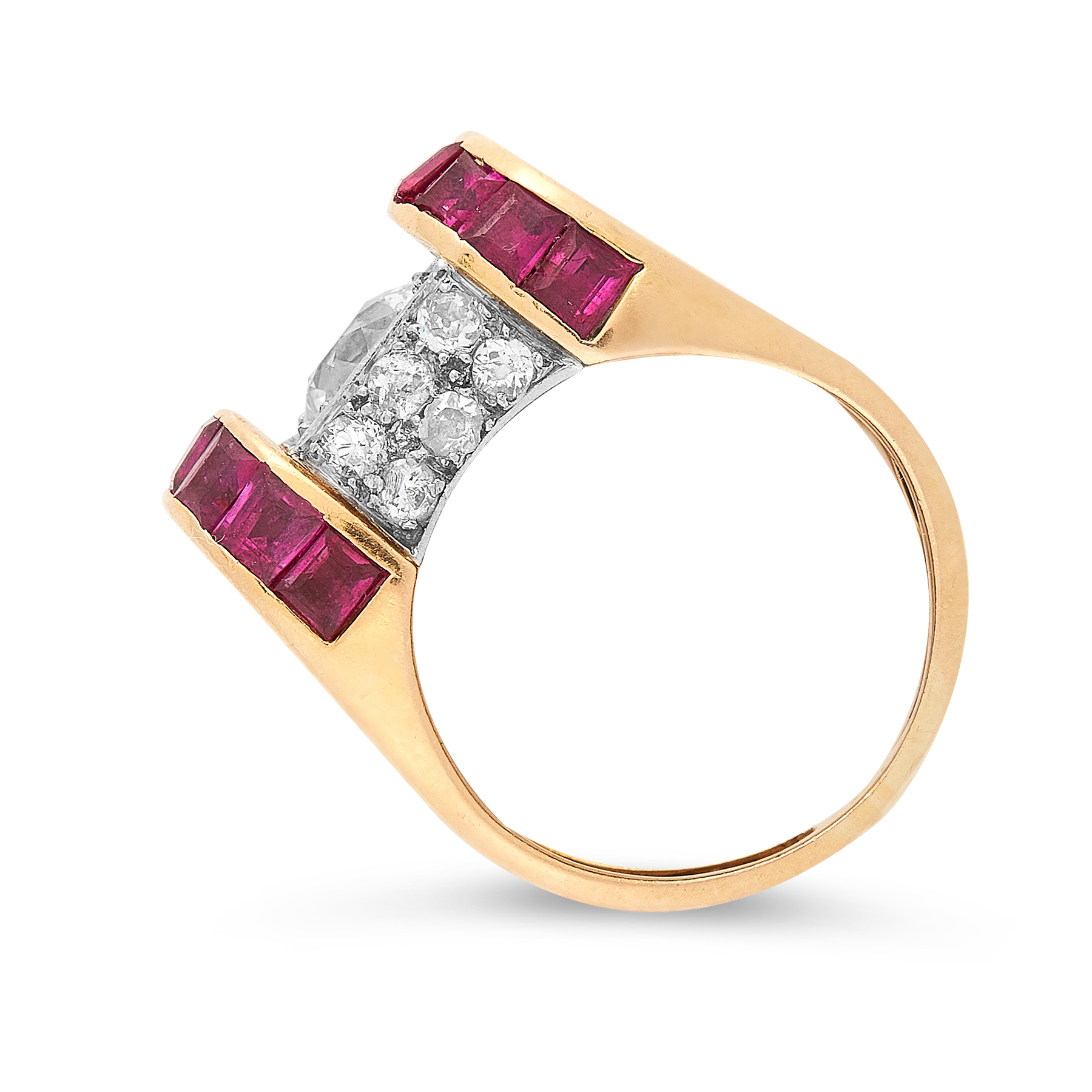 A RETRO DIAMOND AND RUBY RING CIRCA 1945 in 18ct yellow gold, set with an old cut diamond of 1.38 - Image 2 of 2