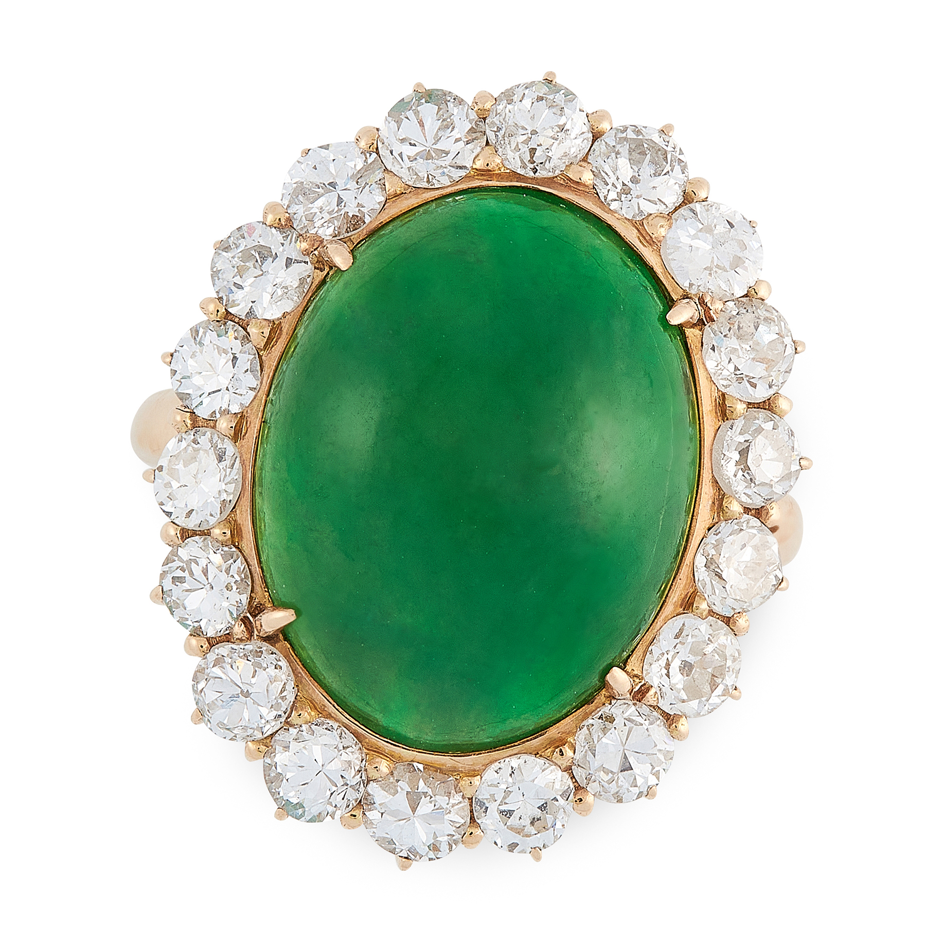 A JADEITE JADE AND DIAMOND RING in 18ct yellow gold, set with an oval jadeite cabochon of 12.40
